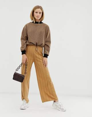 Asos DESIGN knitted wide leg pants with deep rib