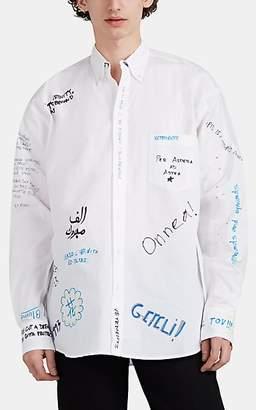 845b90bbd711 Vetements Men's Scribble-Print Cotton Poplin Oversized Shirt - White