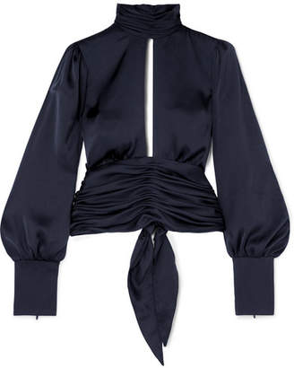 Orseund Iris Night Out Ruched Satin Blouse - Navy
