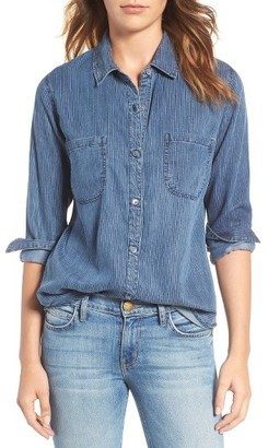 Women's Rails Carter Textured Stripe Chambray Shirt $148 thestylecure.com