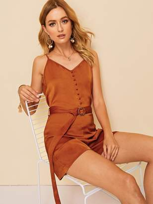 Shein Covered Button O-ring Belted Satin Romper