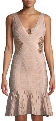 Herve Leger Kori Golden-Beaded Flounce Dress