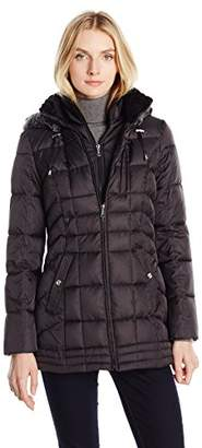 Nautica Women's Puffer with Vestie and Faux Fur Trim $36.78 thestylecure.com