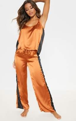 PrettyLittleThing Brown Side Stripe Satin Pyjama Bottom