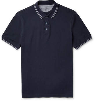 Brunello Cucinelli Slim-Fit Contrast-Tipped Cotton-Pique Polo Shirt - Navy