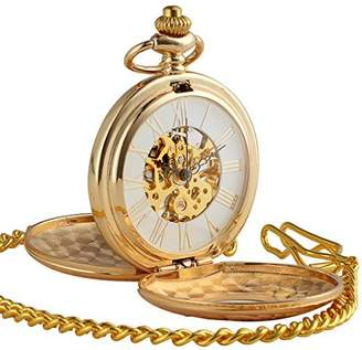 Hunter ManChDa Golden Double Case Skeleton Pocket Watch Roman Numerals Mechanical For Men Women
