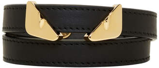 Fendi Black Leather Bag Bugs Double Wrap Bracelet