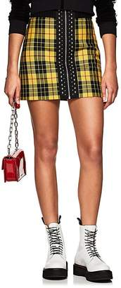 Palm Angels Women's Studded Plaid Wool High-Rise Miniskirt