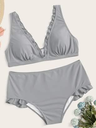 Shein Plus Frill Trim Top With High Waist Bikini Set