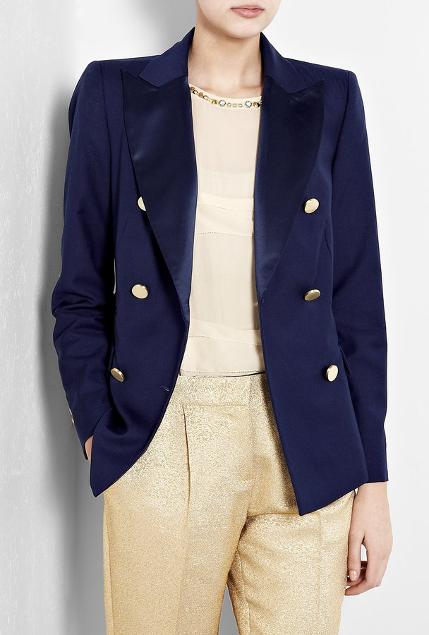 Malene Birger Indigo Karam Double Breasted Blazer With Gold Buttons