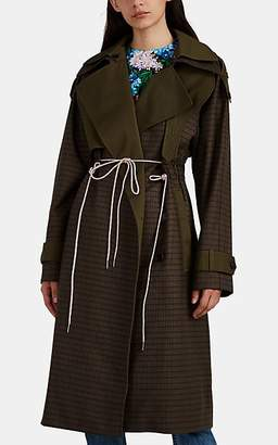 BESFXXK Women's Plaid Wool Flannel Trench Coat - Khaki