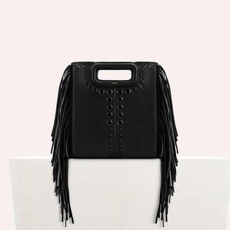 Maje Leather M bag with eyelets and fringing