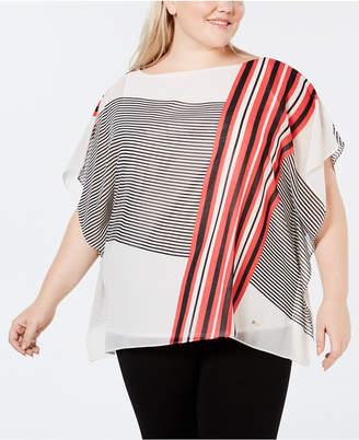 Calvin Klein Plus Size Printed Poncho Top