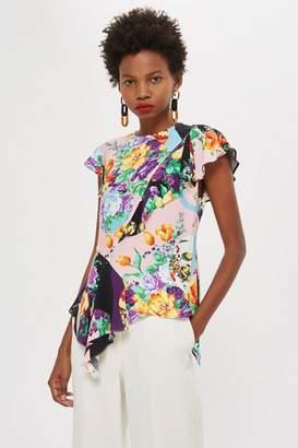 Topshop Floral Short Sleeve Frill Top
