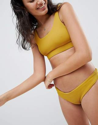 Kulani Kinis Ribbed Mustard Cheeky Bikini Bottom