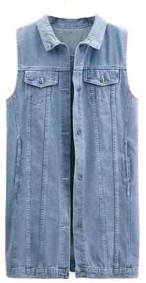 UUYUK-Women Plus Size Casual Lapel Sleeveless Denim Jacket Vest US 4XL