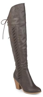 Brinley Co. Women's Wide Calf Distressed Faux Leather Faux Lace-up Over-the-knee Boots
