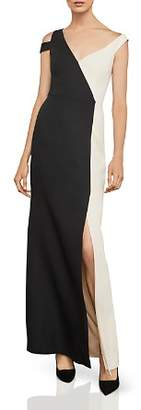 BCBGMAXAZRIA Asymmetric Color-Block Gown