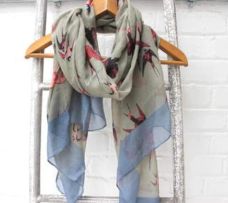 The Forest & Co Personalised Grey Swallow Scarf