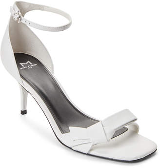 Marc Fisher White Tierra Metallic Bow Dress Sandals