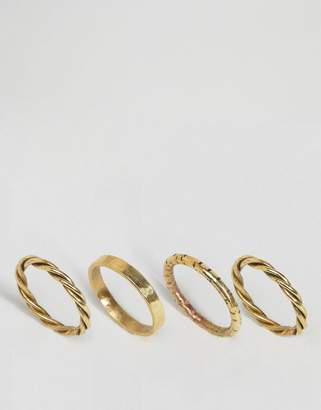 Made Gold Twisted Stacking Ring Set