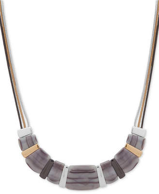 """Nine West Tri-Tone & Stone Triple-Chain Beaded Collar Necklace, 16"""" + 2"""" extender"""