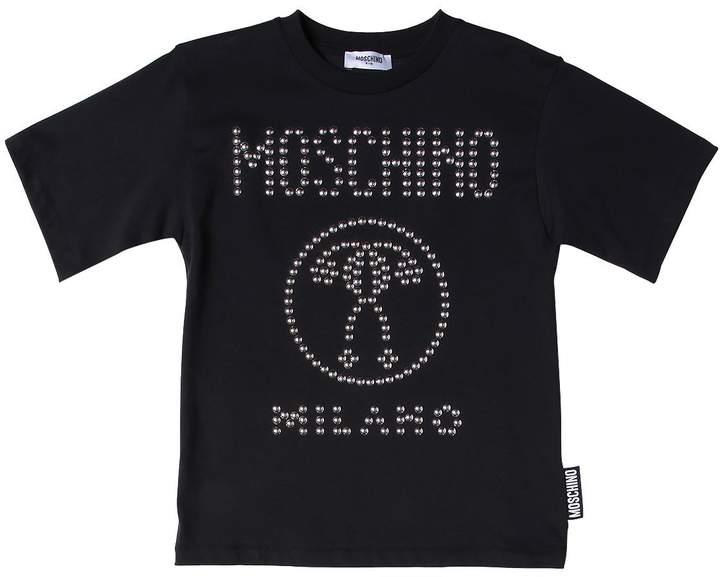 T-Shirt Aus Baumwolljersey Mit Logo Aus Nieten