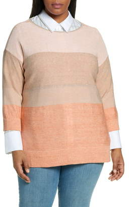 Lafayette 148 New York Chain Embellished Ombre Colorblock Sweater