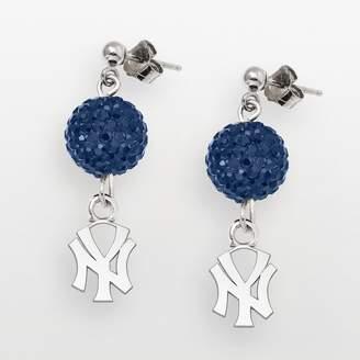 New York Yankees Logoart LogoArt Sterling Silver Crystal Logo Linear Drop Earrings