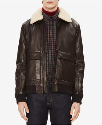 Calvin Klein Men Leather Jacket with Sherpa Trim