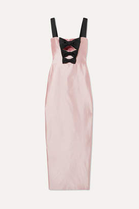 Rasario - Bow-embellished Silk-shantung Gown - Pastel pink