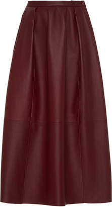 Agnona Nappa Leather Midi Skirt