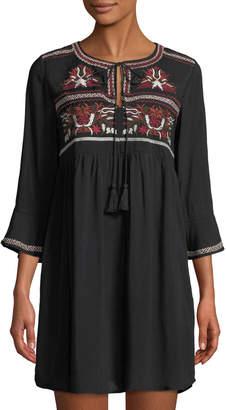 Haute Rogue Elize Embroidered Boho Mini Dress