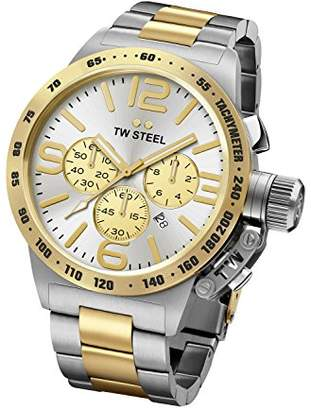 TW Steel Canteen Unisex Quartz Watch with Silver Dial Chronograph Display and Silver Stainless Steel Bracelet CB34