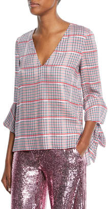 Prabal Gurung V-Neck Ruffle-Cuff Check Top