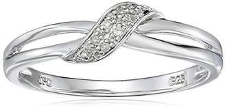 Sterling Crisscross Diamond Ring (0.02 cttw