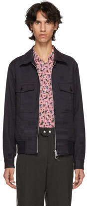 Paul Smith Blue and Black Check Bomber Jacket