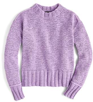 J.Crew Erica Heathered Cotton Wide Rib Crewneck Sweater