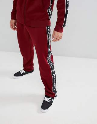 DC Joggers with Logo Taping in Burgundy
