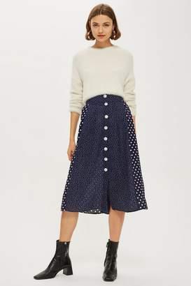 Topshop Spot Button Pleat Midi Skirt