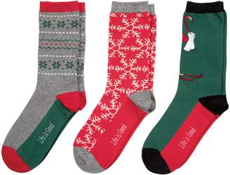Life is Good 3-Pack Women's Holiday Crew Socks