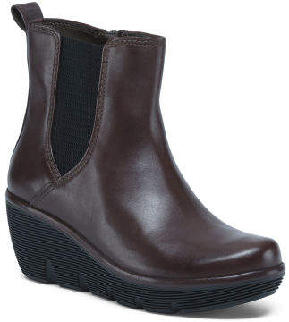 All Day Comfort Leather Wedge Booties