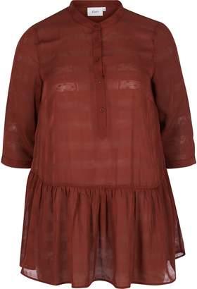 Zizzi Plain Tunic with Polo Shirt Collar and 3/4 Length Sleeves