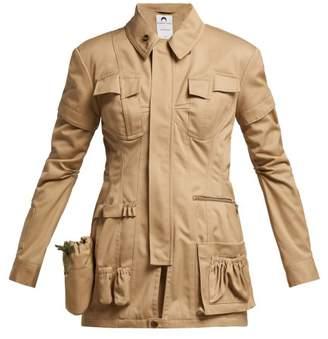 Marine Serre - Utility Pocket Cotton Jacket - Womens - Khaki
