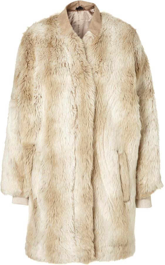 Zip Front Faux Fur Coat