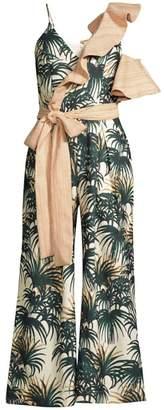 PatBO Palm Print Asymmetrical Ruffle Jumpsuit