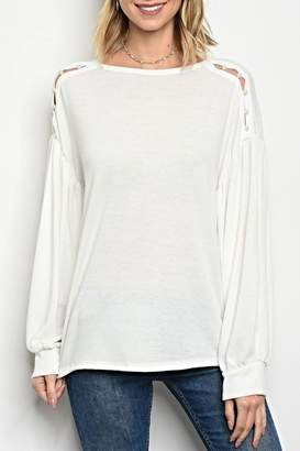 Sweet Claire White Button Sweater