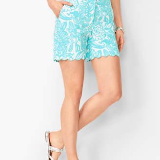 Talbots Textured Scallop-Hem Shorts - Floral