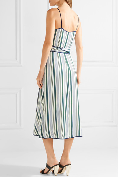 Tory Burch - Villa Striped Satin-twill Wrap Dress - Blue 4