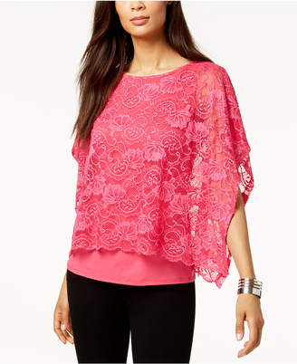 JM Collection Lace-Overlay Poncho-Sleeve Top, Created for Macy's